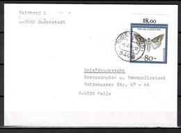 BRD; MiNr. 1604, Jugend: Gefährdete Nachtfalter, Auf Portoger. Briefdrucksache Von Duderstadt Nach Halle; B-1567 - [7] Federal Republic