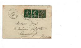 AFFRANCHISSEMENT COMPOSE DE SEMEUSE SUR LETTRE DE GIAT PUY DE DOME 1920 - Storia Postale