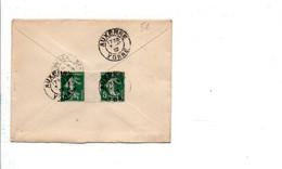 AFFRANCHISSEMENT COMPOSE DE SEMEUSE SUR LETTRE DE AUXERRE YONNE 1912 - Storia Postale