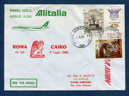 Italie - Premier Vol - Roma - Cairo - Alitalia - 1980 - Vliegtuigen