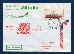 Italie - Premier Vol - Paris - Rome - Alitalia - 1980 - Vliegtuigen