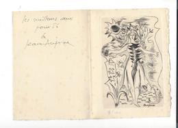 Jean Aujame  1905 - 1965   Ill. Numérotée + Autographe  1956 - 2 Volets  Env. 17,4 X 12,5  Cm - Stampe & Incisioni