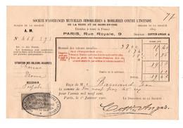 Facture Société D'Assurances Mutuelles Immobilières & Mobilières Contre L'Incendie De La Seine Et Seine-et-Oise De 1900 - Banca & Assicurazione