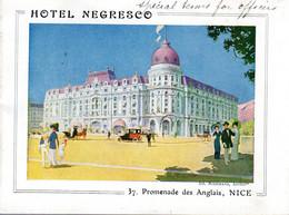 HOTEL NEGRESCO NICE  -  Magnifique Dépliant En Anglais - Nonbreux Dessins En Couleur - Cafés, Hotels, Restaurants