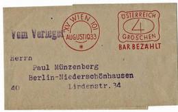 1933, D.-Ö- Alpenverein, Streifband, Frei-Stp. , A4052 - Postwaardestukken