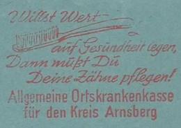 EMA AFS METER STAMP FREISTEMPEL - 19569 Arnsberg Willst Wert Brush Teeth Zähne Putzen - Health