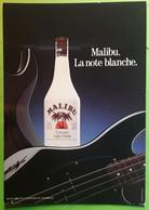 Carte Boisson  ALCOOL, MALIBU La Note Blanche, Coconut Light Drink, Guitare électrique,  Photo J F SCHALL, TB - Alcohols