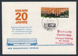 DDR Germany 1978 Brief Cover - 20 Jahre VEB Waggonbau Dessau - 1958-1978 - Kühlwaggon Export / Refrigerated Wagon Export - Trains