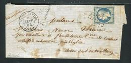 Rare Lettre De Pontvallain Par Mayet Sarthe Pour Foulletourte ( 1854 ) Avec Un N° 10 - Cursive 71 Pontvallain - 1852 Louis-Napoléon