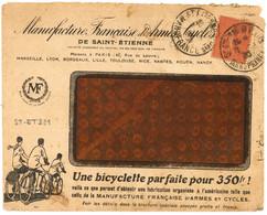 ST ETIENNE R. P.  BIS MANUFRANCE (Loire) 1930 Daguin Jumelé R04C Sur Env. Pub BICYCLETTE + Facture à L'intérieur - Maschinenstempel (Werbestempel)
