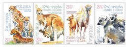 Poland 2020 Fauna Small & Large Animals Camel Cheetah Kangaroo Lemur 4v MNH - Raubkatzen