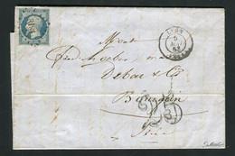 Rare Lettre Taxée De Lyon Pour Bourgoin ( 1853 ) Avec Un N° 10 Présidence - 1852 Louis-Napoléon