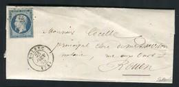 Rare Lettre De Bolbec Pour Rouen ( 1853 ) Avec Un N° 10 Présidence - 1852 Louis-Napoléon