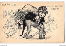 CPA Dessin Original De P. Lacouture + Texte - Combes L'inventaire Protection Des Biens De L'église - Satira
