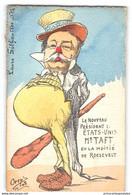 CPA Orens Litho - Le President Des Etats Unis Taft Ou La Moitié De Roosevelt Aquarellée Main - Satira
