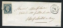 Rare Lettre De Londinières Pour Neufchâtel En Bray ( 1853 ) Avec Un N° 10 Présidence Bord De Feuille - 1852 Louis-Napoléon