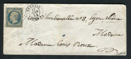 Rare Lettre D'Argueil Pour Lyon ( Juin 1854 ) Avec Un N° 10 Présidence Bleu Sur Teinté - 1852 Louis-Napoléon