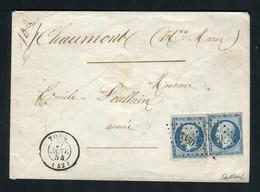 Rare Lettre En Double Port De Toul Pour Chaumont ( 1854 ) Avec Deux N° 10 Présidence - 1852 Louis-Napoléon