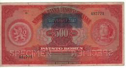 SLOVAKIA   500 Korun  P2s  ( Overprint On Czecoslovakia P24...Czech Legionnaire-Liberty, Lion, Child On Back ) - Slovacchia