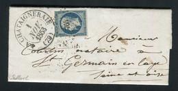 Rare Lettre De La Châtaigneraie Pour St Germain En Laye ( Vendée 1853 ) Avec Un N° 10 Présidence - 1852 Louis-Napoléon