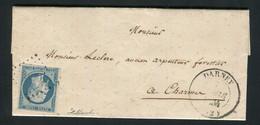 Rare Lettre De Darney Pour Charmes ( Vosges 1853 ) Avec Un N° 10 Présidence - 1852 Louis-Napoléon