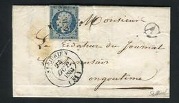 Rare Lettre De Brigueuil Par St Junien Pour Angoulême ( Haute Vienne 1853 ) Avec Un N° 10 Présidence - 1852 Louis-Napoléon