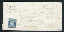 Rare Lettre De Saales Pour Strasbourg ( Vosges 1854 ) Avec Un N° 10 Présidence - Cachet PC 2735 - 1852 Louis-Napoléon