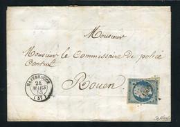 Rare Lettre De Hazebrouck Pour Rouen ( 1853 ) Avec Un N° 10 Présidence - Cachet PC 1500 - 1852 Louis-Napoléon
