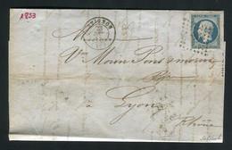 Rare Lettre D'Avignon Pour Lyon ( 1853 ) Avec Un N° 10 Présidence - 1852 Louis-Napoléon