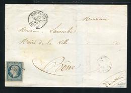 Rare Lettre De Constantine Pour Bône ( Algérie 1853 ) Avec Un N° 10 Présidence - 1852 Louis-Napoléon
