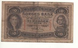 NORWAY  10 Kroner   P8c   Dated 1943  ( Wilhelm Frimann Koren Christie -Admiral Peter Tordenskold ) - Noruega