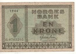 NORWAY  1 Krone   P15a   Dated 1944 - Noruega