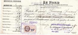 Reçu De Mr Amouroux Armand Rue Chinchauvaud Limoges 87 Pour Assurance Incendie Le Nord à Limoges 87 Timbre Fiscal 25c - Banca & Assicurazione