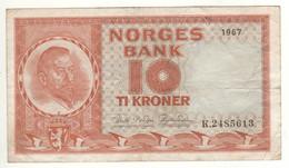 NORWAY  10 Krone   P31d   Dated 1967   ( Christian Michelsen On Front - Mercury, Ships On Back ) - Noruega