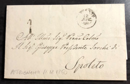 1860 DA PETROGNANO TASSA1 GOV PROVV PER SPOLETO - 1. ...-1850 Prefilatelia