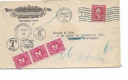 SH 0641. Yv. 168 COLOMBUS 10 FEB 1916 S/L PUBLICITAIRE V. LISBONNE (PORTUGAL). TIMBRES-TAXE US 30(3) Et PORTUGAIS 24(2) - Vereinigte Staaten