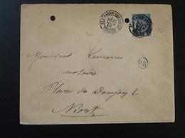 Lettre 15c Sage Avec Cachet OR Origine Rurale + Oblit. St-Hilaire Des Loges 85 Vendée 1896 - Storia Postale