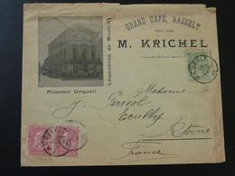 Lettre Publicitaire Lowenbrau De Munich Grand Café Hasselt Belgique 1905 - Bières