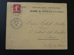 Lettre 10c Semeuse Mairie De Singles 63 Puy De Dome 1909 - Storia Postale