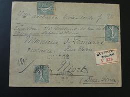 Lettre Recommandée 15c Semeuse Obl. Les Sables D'Olonne 85 Vendée Recommandé Chargé 1912 - Storia Postale