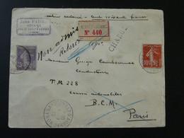 Lettre Recommandée Semeuse Oblit. St-Chély D'Aubrac 12 Aveyron Recommandé Chargé 1916 - Storia Postale