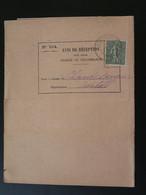 Semeuse Sur Avis De Réception Oblit. Marvejols 48 Lozère 1917 - Storia Postale