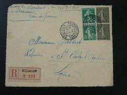 Devant De Lettre Recommandée Semeuse Oblit. Roquecor 82 Tarn Et Garonne 1919 - Storia Postale