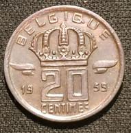 BELGIQUE - BELGIUM - 20 CENTIMES 1959 - Légende FR - Type Mineur - KM 146 - 01. 20 Centimes