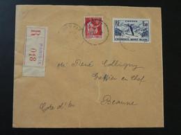 Lettre Recommandée Registered Cover Coupe Du Monde Ski 1937 World Cup Obl. Paris IX - Cartas