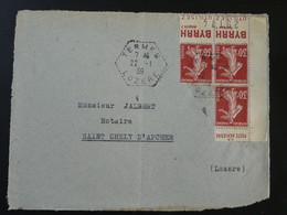 Devant De Lettre Semeuse Bande Publicitaire Byrrh Cachet Hexagonal Termes 48 Lozère 1939 - 1921-1960: Modern Period