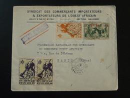 Lettre Par Avion Air Mail Cover Oblit. Cotonou Dahomey AOF 1945 - Lettres & Documents