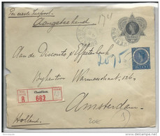 1915 - INDES NEERLANDAISES - ENVELOPPE ENTIER RECOMMANDEE CHARGEE De CHERIBON Pour AMSTERDAM - Netherlands Indies