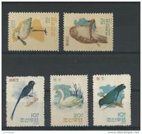 KOREA - YVERT N° 388/392 NEUFS - MINT - BIRDS - OISEAUX - Korea, North