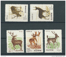 KOREA - YVERT N°738/742 NEUFS - MINT - WILD ANIMALS - CERFS + ELAN +.. - Korea, North